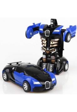 Машинка Трансформер Bugatti Size 18 см Robot Car Синяя SKL11-261315