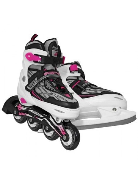 Роликовые коньки SportVida 4в1 размер 35-38 белые с черным и розовым SKL41-283243