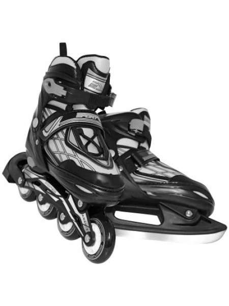 Роликовые коньки SportVida 4в1 размер 39-42 черные с серым SKL41-283245