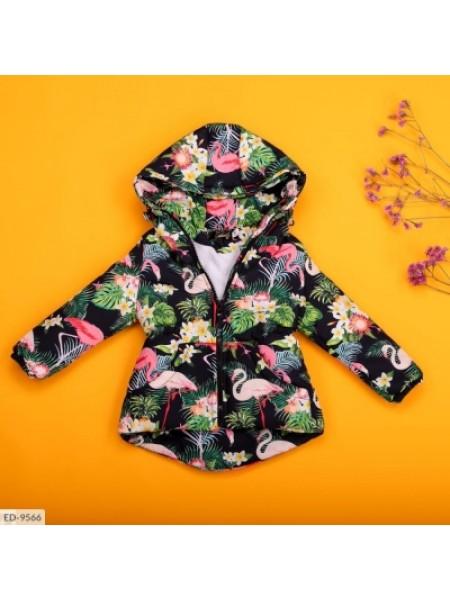 Детская демисезонная парка фламинго разноцветная SKL11-260955