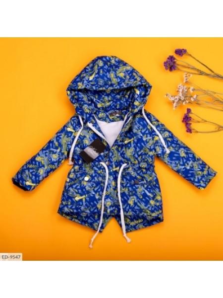 Детская демисезонная парка с принтом голубая SKL11-260946
