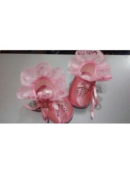 Пинетки детские розовые атлас