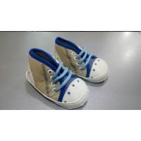 Детские пинетки - кеды на шнуровке, беж