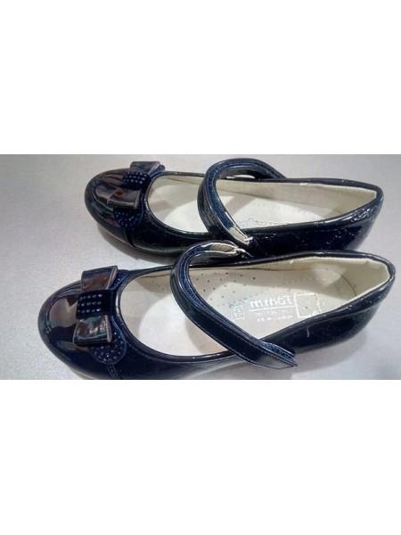 Школьные туфли для девочки синие лак