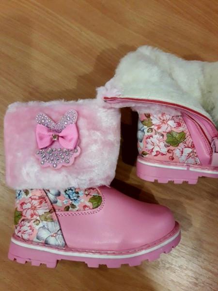 Зимние полусапожки для девочки , розовые