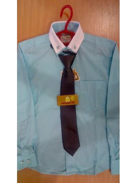 Рубашка школьная для мальчика с длинным рукавом голубая с белым воротником