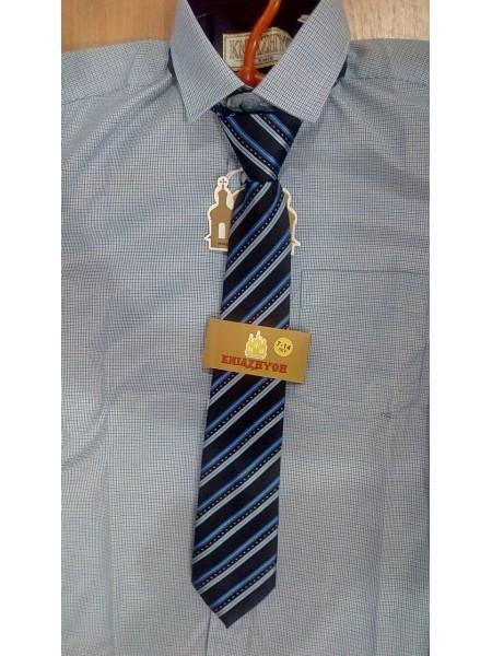 Рубашка школьная для мальчика с длинным рукавом голубая в клетку