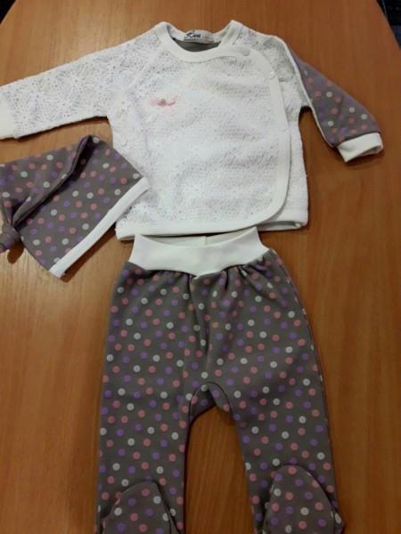 Нарядный комплект для новорожденной в коробке белый с сиреневым в горошек