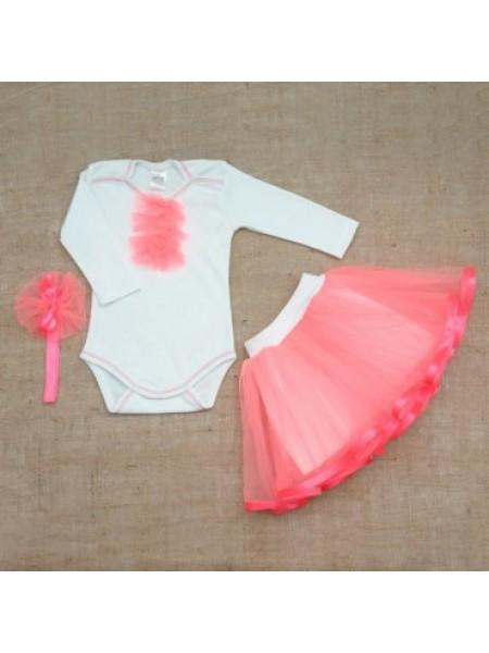 """Нарядный комплект  для девочки """"Ягодка"""" 68 размер розовый"""