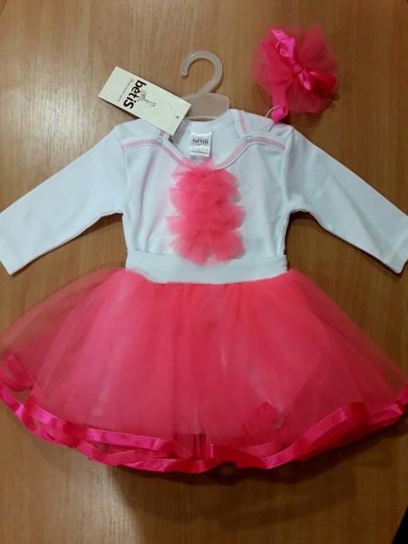 """Комплект для девочки (юбка+боди+повязка) """"Ягодка"""" 86 размер розовый"""