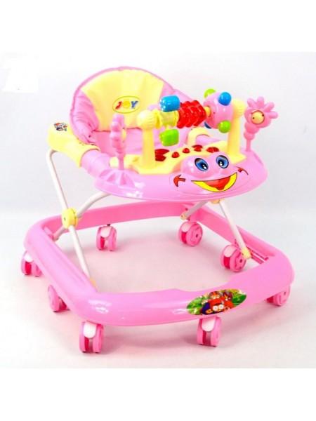 Ходунки детские музыкальная игровая панель, розовые