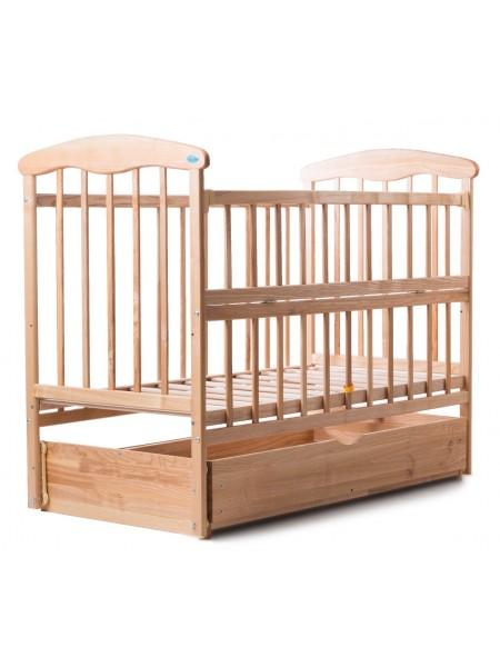 Детская кроватка с ящиком и откидной боковинкой (светлая)