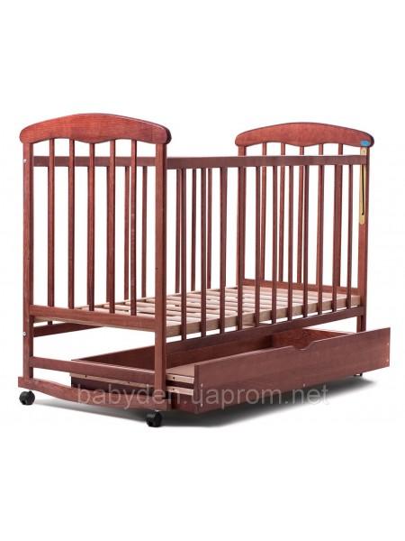 Детская кроватка с ящиком (ольха) темная