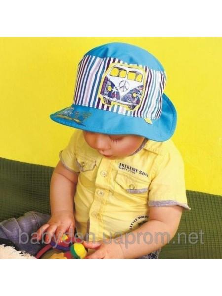 Панамка для мальчика с отворотом в полоску