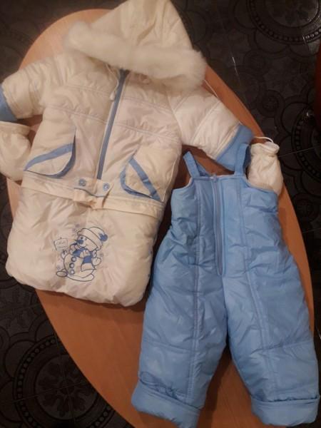 Зимняя куртка и полукомбинезон-трансформер на овчине молочный с голубым