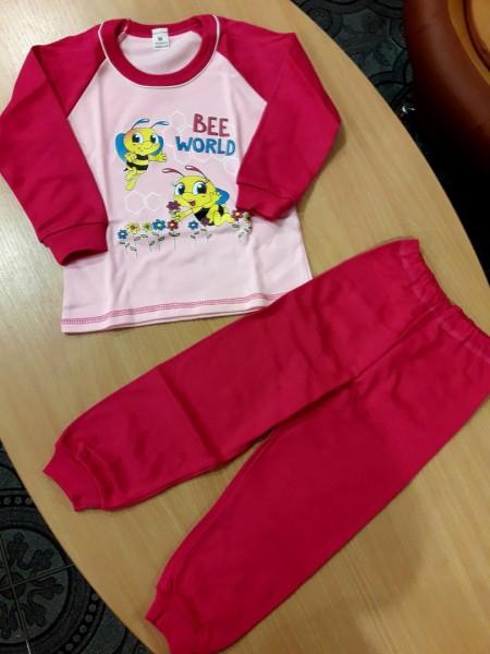 Детская теплая пижама на баечке для девочки Пчелка малиновая 98 размер