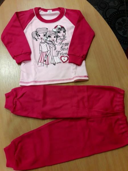 Детская теплая пижама на баечке для девочки Куколки малиновая 92 размер