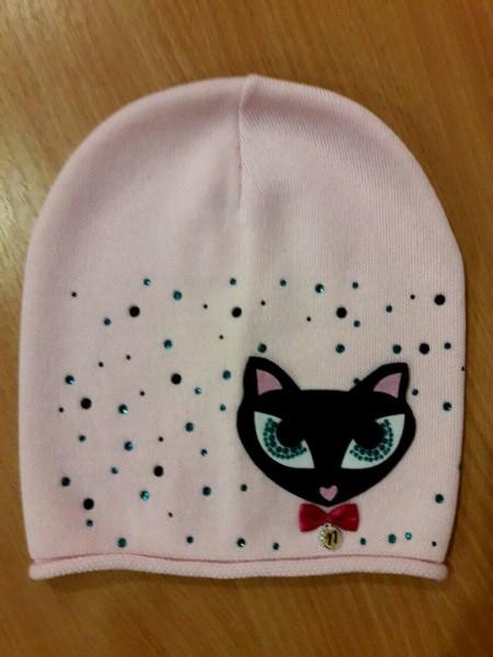 "Шапочка для девочки ""Кошечка"", демисезон, вязка, розовая"