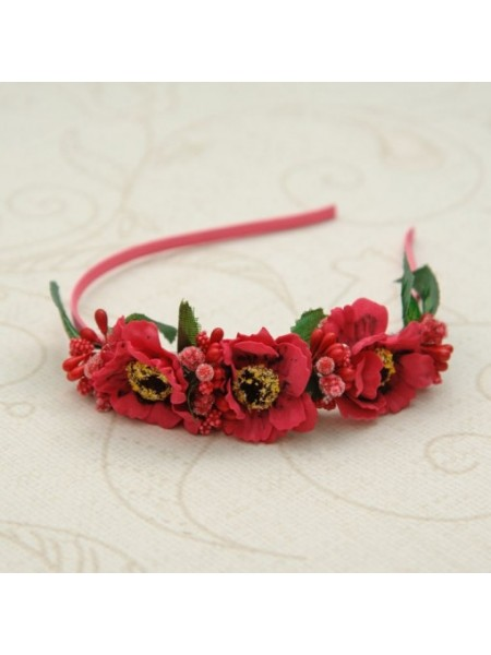 """Ободок """"Красные цветы"""" на голову для девочки"""
