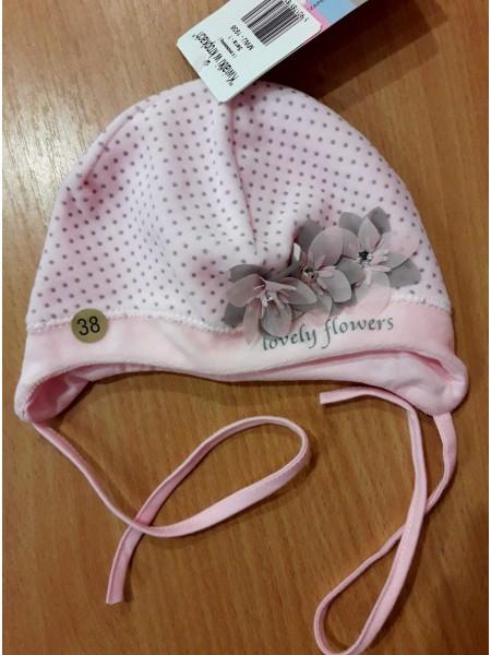 Шапочка для новорожденной,  розовая,велюр