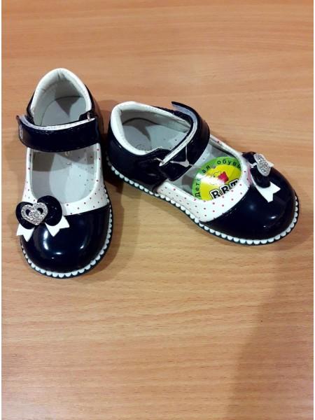 Туфли для девочки синие с белым, лак