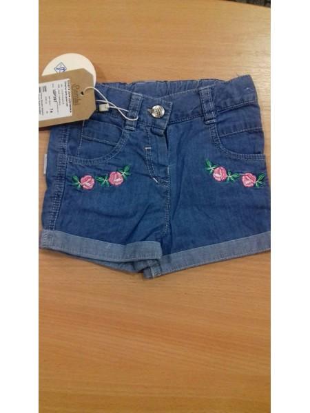 Шорты летние для девочки с вышивкой,джинс