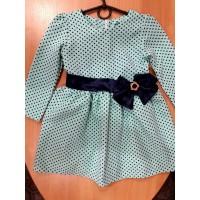 Нарядное платье для девочки, мятное в горошек