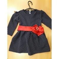 Нарядное платье для девочки, синее в горошек с красным бантом 86-104