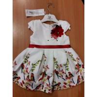 """Платье нарядное для девочки с цветком """"Птицы"""",белое с красным"""