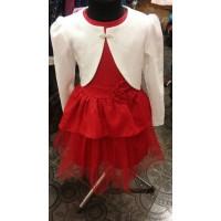 Нарядное платье с болеро для девочки, красное