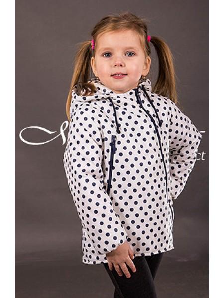 Демисезонная куртка для девочки, белая в синий горох