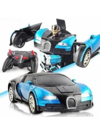 Машинка трансформер Bugatti Robot Car Size 112 Синяя SKL11-276018