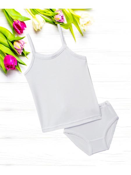 Комплект белья для девочки стрейч-кулир КП-113-18 белый
