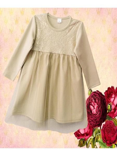 Платье для девочки ПЛ-122-34 бежевое р-р 92-116